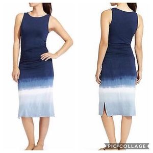 Athleta Tie Dye Tank Midi Dress Navy Ombre Sz XS